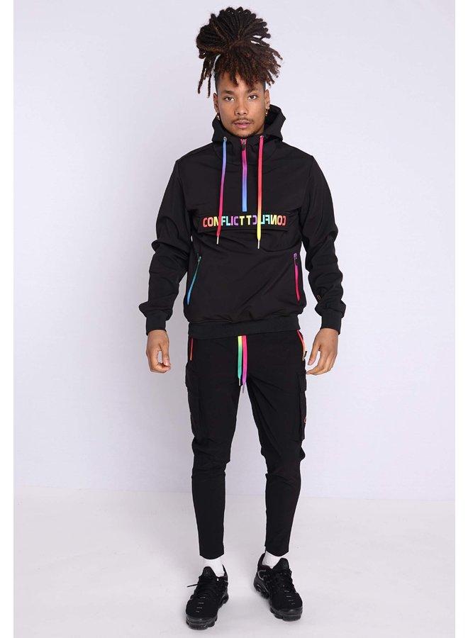 Conflict Anorak Soft Shell Jacket Black/Rainbow