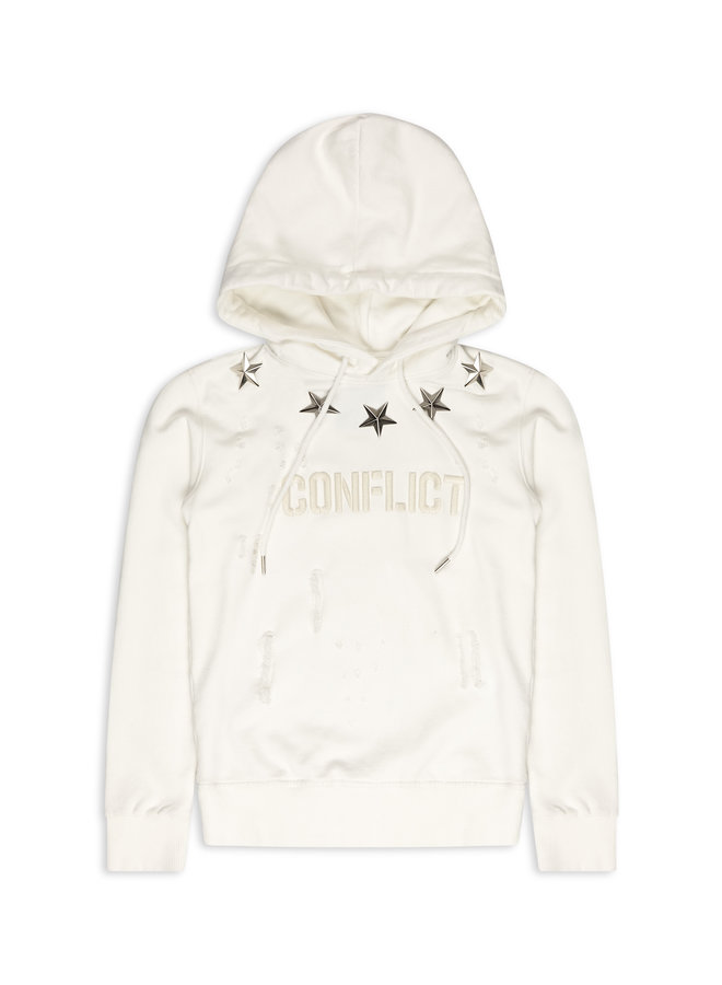 Conflict Hoodie Metal Stars White