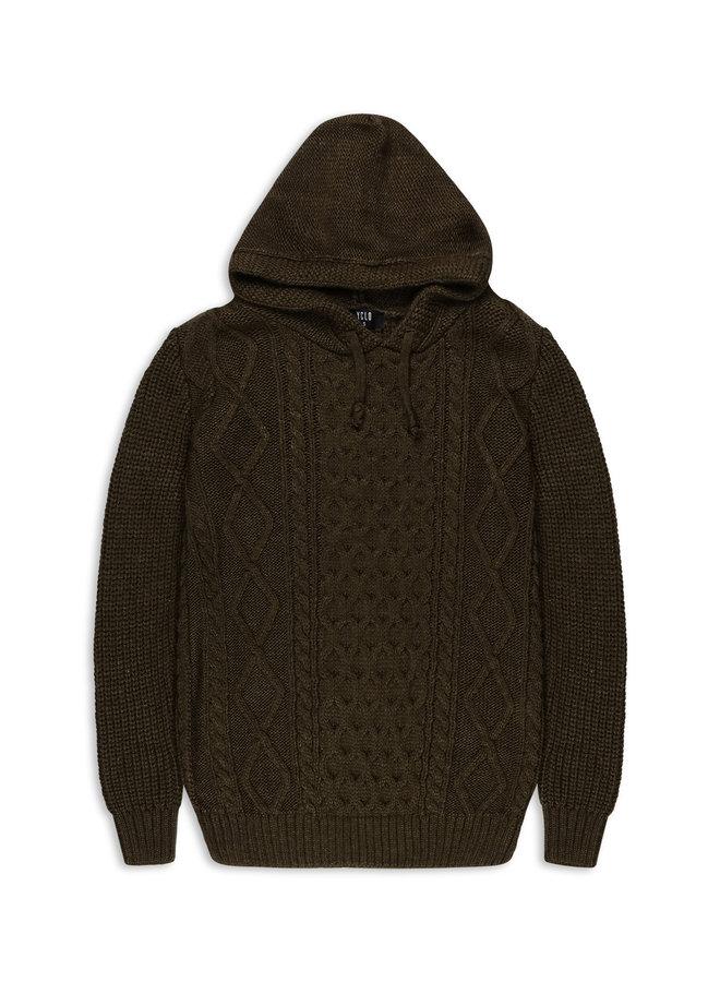 YCLO Knit Hoodie Stigo Army
