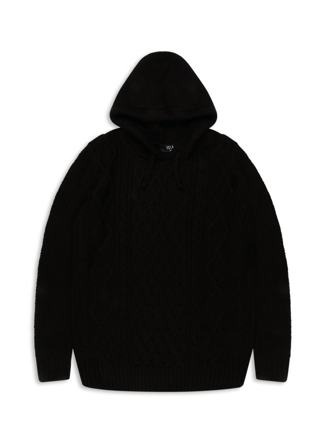 YCLO Knit Hoodie Stigo Black