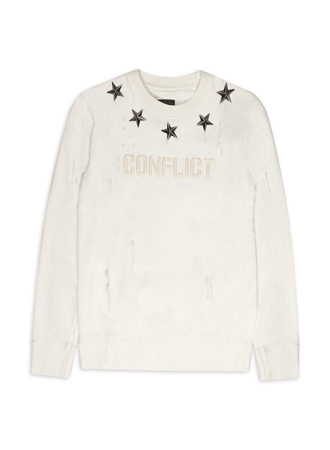 Conflict Sweater Metal Stars Weiß
