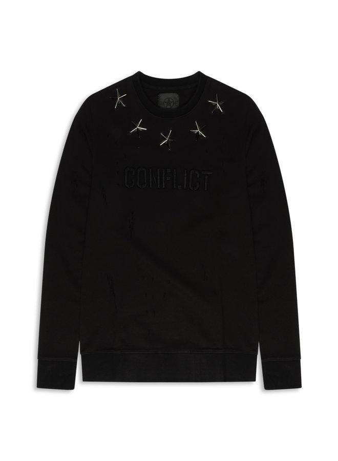Conflict Sweater Metal Stars Schwarz