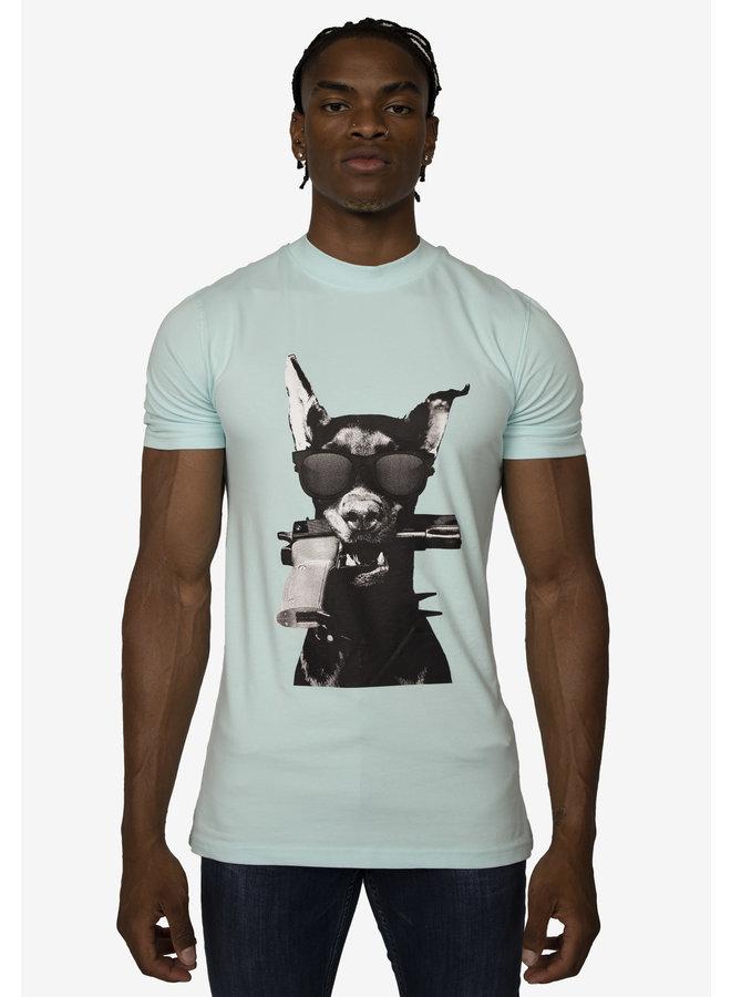 Conflict T-Shirt Dobermann Hellblau