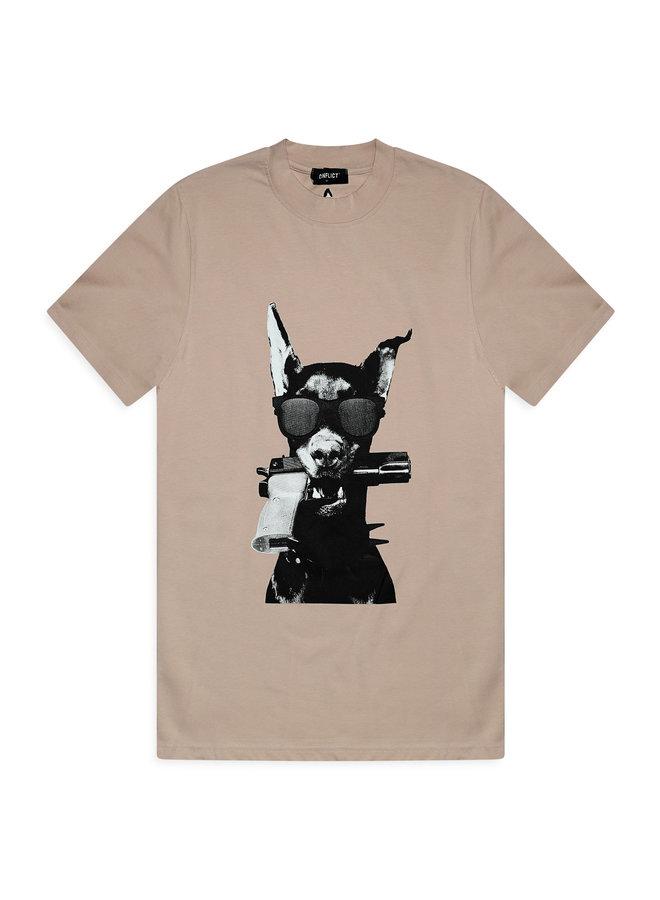 Conflict T-Shirt Dobermann Beige