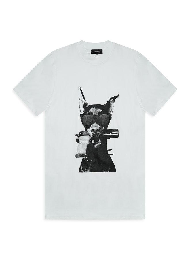 Conflict T-Shirt Dobermann Weiß