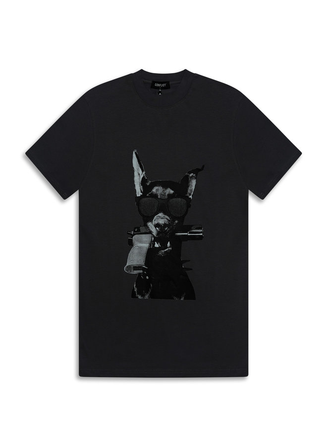 Conflict T-Shirt Dobermann Grau