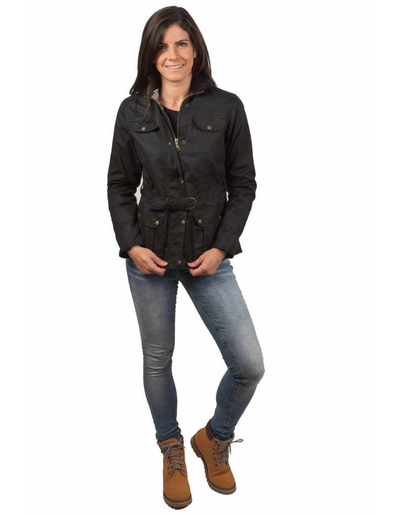 W & H Ladies Belted Waxed 4 Pocket Jacket