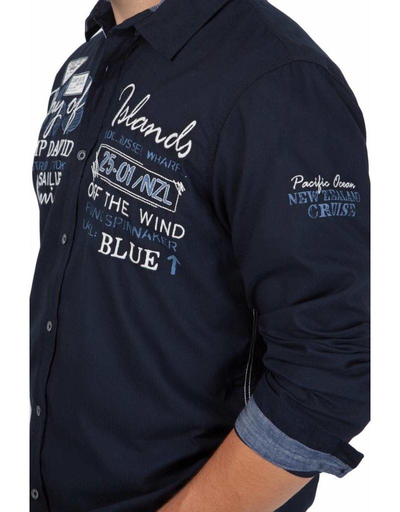 Camp David ® Shirt Bay of Island, Donkerblauw