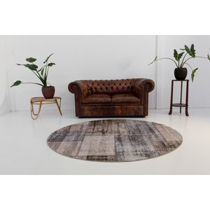 BURANO PATCHWORK TAUPE GRIJS ROND