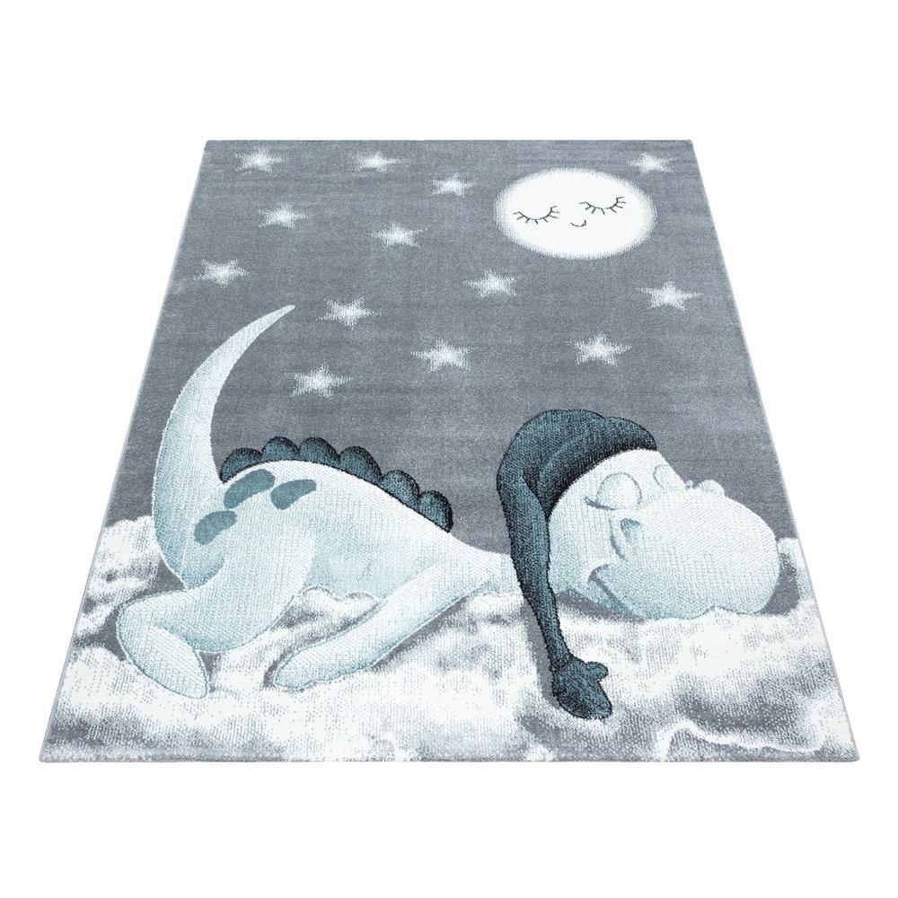 KIDS KINDERKAMER BLAUW - GRIJS VLOERKLEED Slapende Dinosaurus