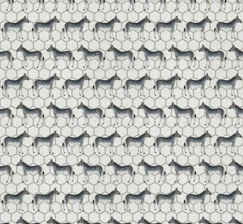 Decostoffen Linnenlook stof met zebra's
