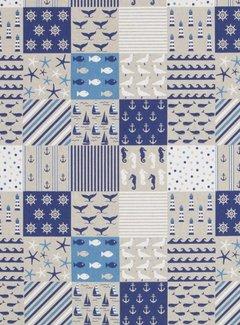 Decostoffen Maritiem patchwork linnenlook