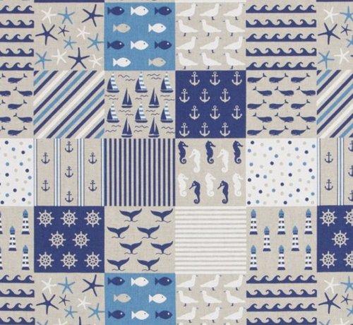 Decostoffen Linnenlook stof met maritiem patchwork