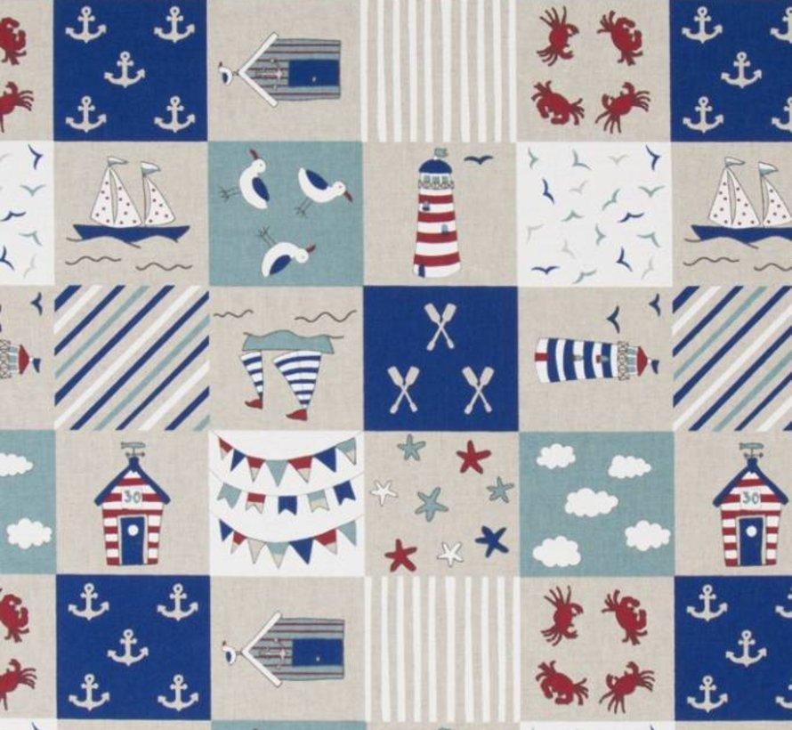 Maritiem patchwork rood en blauw op linnenlook stof