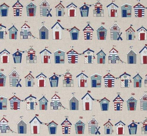 Decostoffen Maritiem huisjes op linnenlook stof