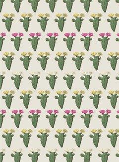 Decostoffen Cactus met planten jacquard