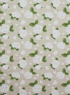 Decostoffen Witte hortensia's linnenlook