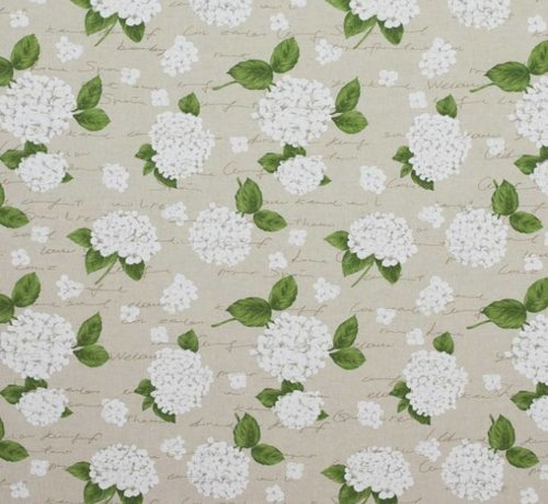 Decostoffen Witte hortensia's op linnenlook stof