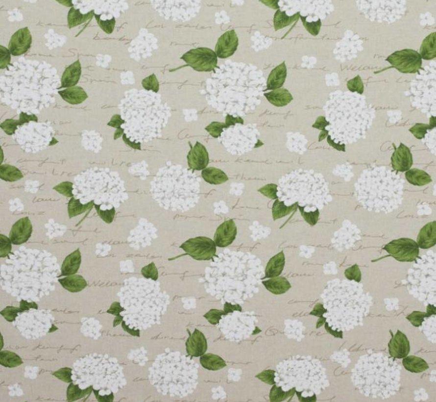 Witte hortensia's op linnenlook stof