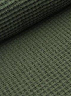 Decostoffen Legergroen - wafeldoek klein