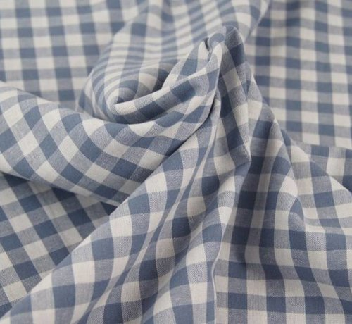 Decostoffen Jeans blauwe ruit 10 mm x 10 mm