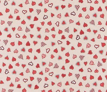 Decostoffen Rode hartjes - linnenlook