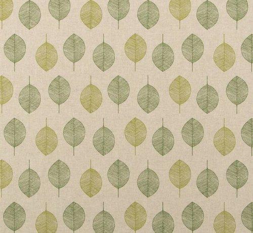 Decostoffen Groene bladeren op linnenlook stof