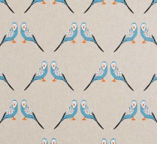 Decostoffen Blauwe parkiet op linnenlook stof