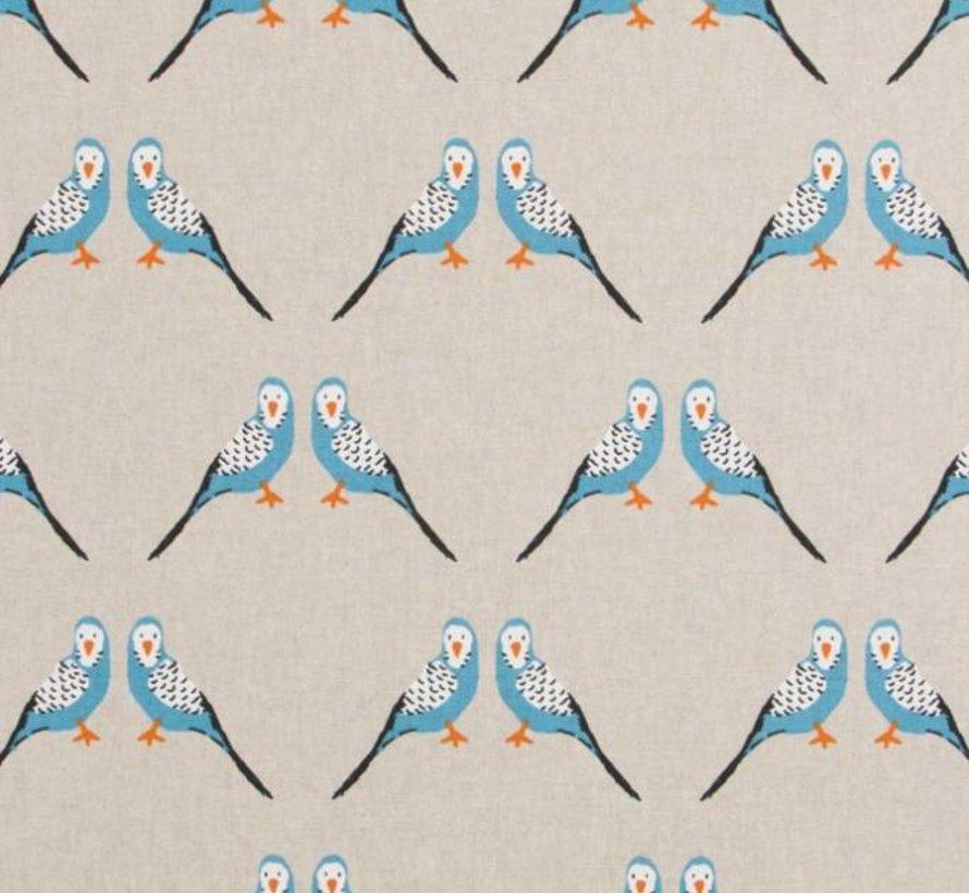 Blauwe parkiet op linnenlook stof