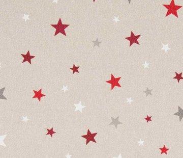 Decostoffen Rood witte sterren linnenlook