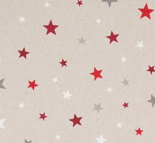 Decostoffen Rood witte sterren met lurex op linnenlook stof