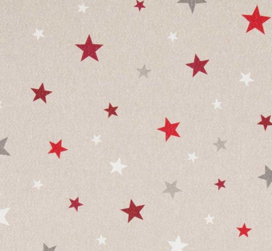 Rood witte sterren met lurex op linnenlook stof