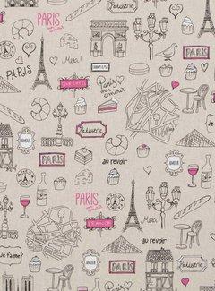 Parijs travel stof linnenlook