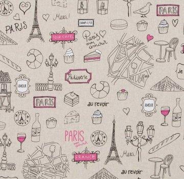 Decostoffen Parijs travel stof linnenlook