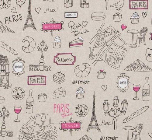Decostoffen Parijs travel linnenlook stof met de Eiffeltoren, au revoir, stokbrood en wijn