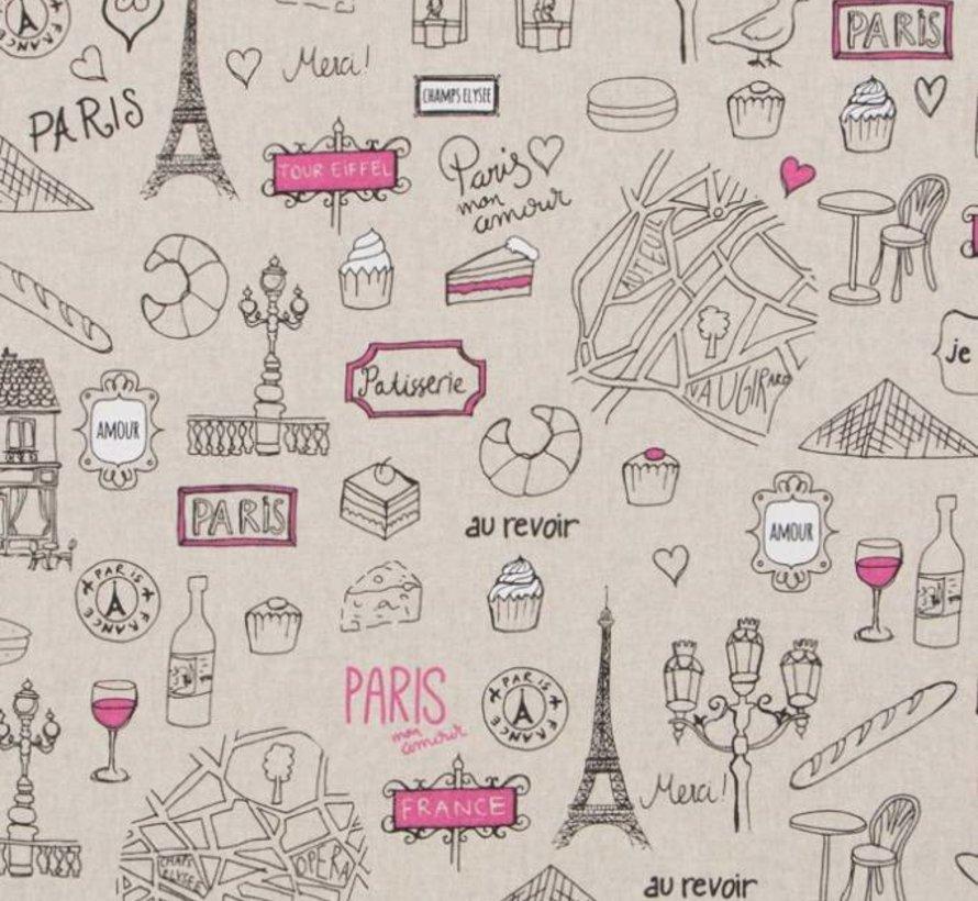 Parijs travel linnenlook stof met de Eiffeltoren, au revoir, stokbrood en wijn