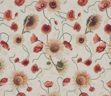 Decostoffen Tulpen en zonnebloem - gobelin