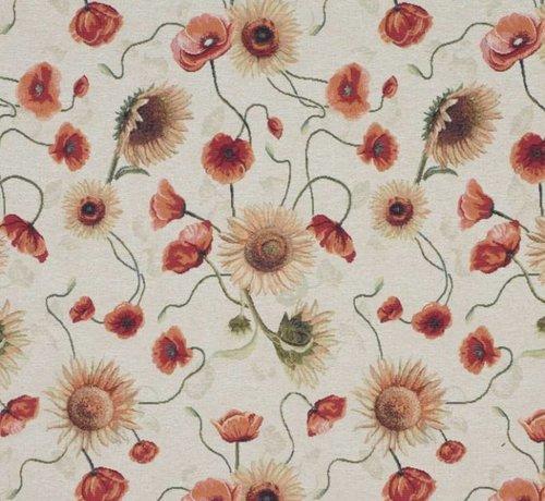 Decostoffen Tulpen en zonnebloemen - gobelin