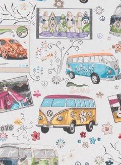 Decostoffen Volkswagen bus flower jacquard