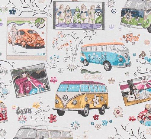 Decostoffen Volkswagen hippie flower bus op jacquard meubelstof