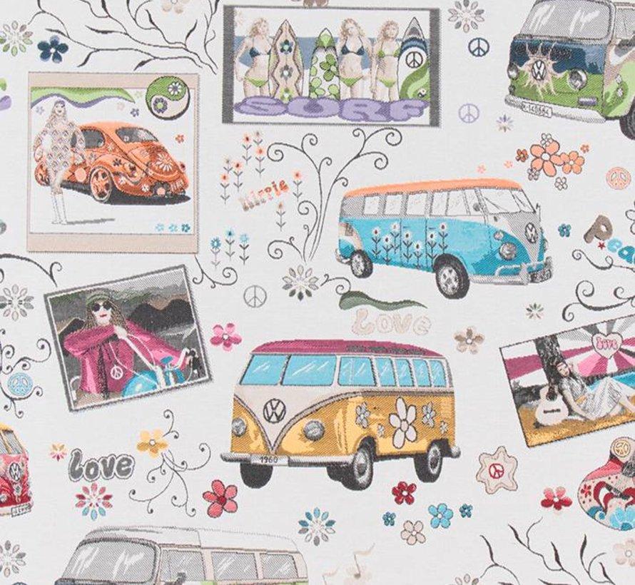 Volkswagen hippie flower bus op jacquard meubelstof