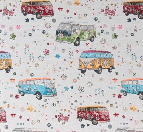 Decostoffen Volkswagen hippie bus jacquard op meubelstof