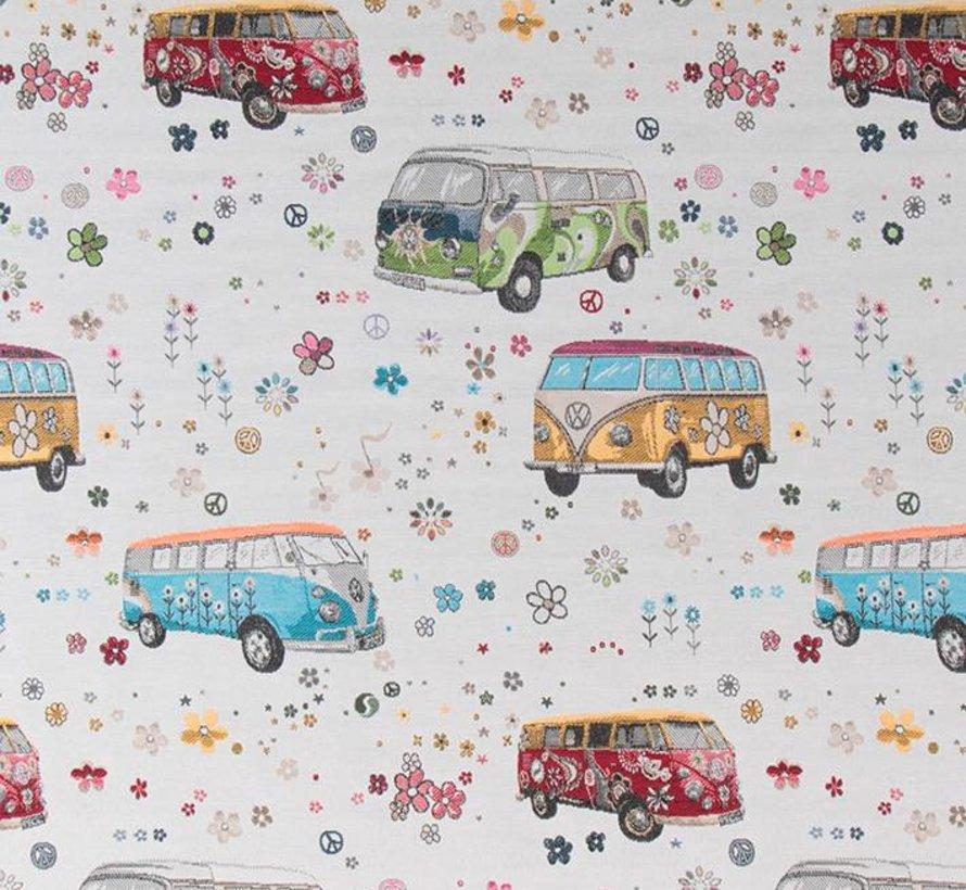 Volkswagen hippie bus jacquard op meubelstof