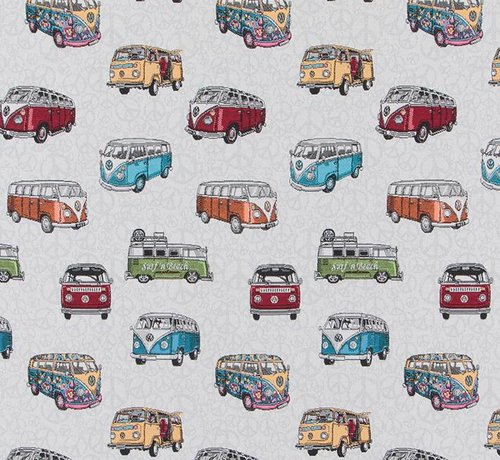 Decostoffen Volkswagen bus jacquard op meubelstof