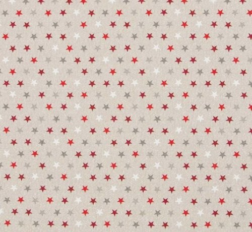 Decostoffen Gekleurde sterren met lurex draad linnenlook