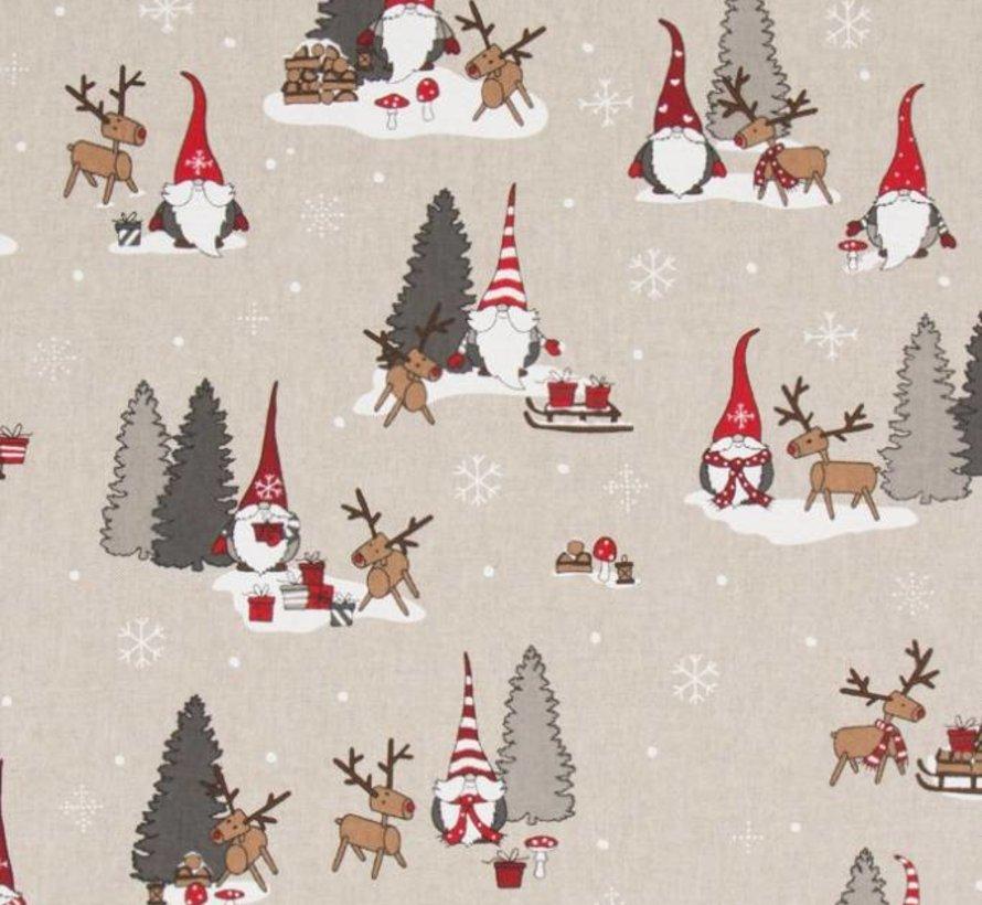 Stof met kerstman - Linnenlook