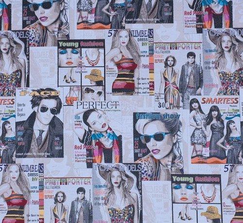 Decostoffen Rock & roll magazines jacquard meubelstof