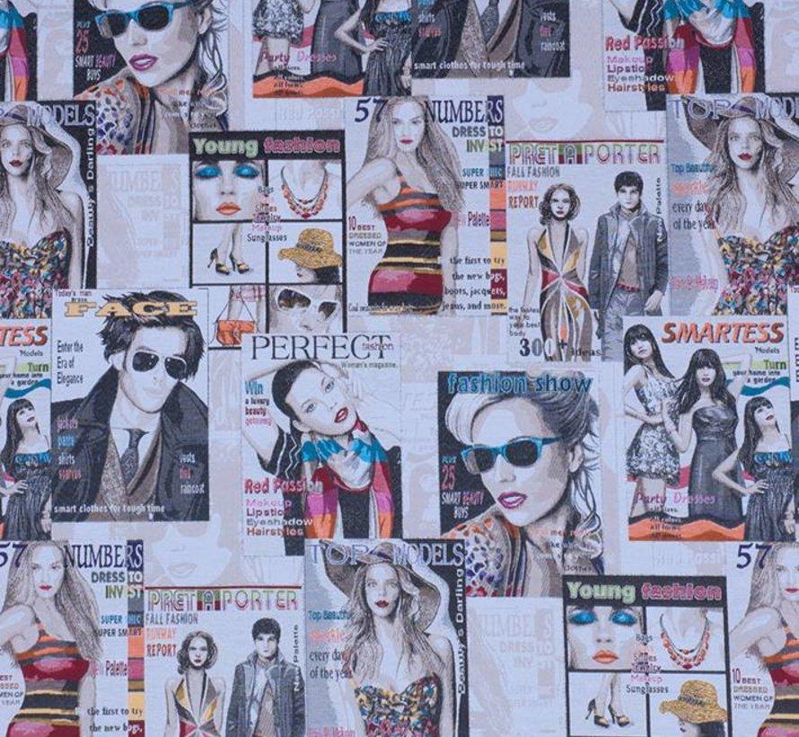 Rock & roll magazines jacquard meubelstof