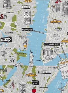Decostoffen New York plattegrond - ottoman print
