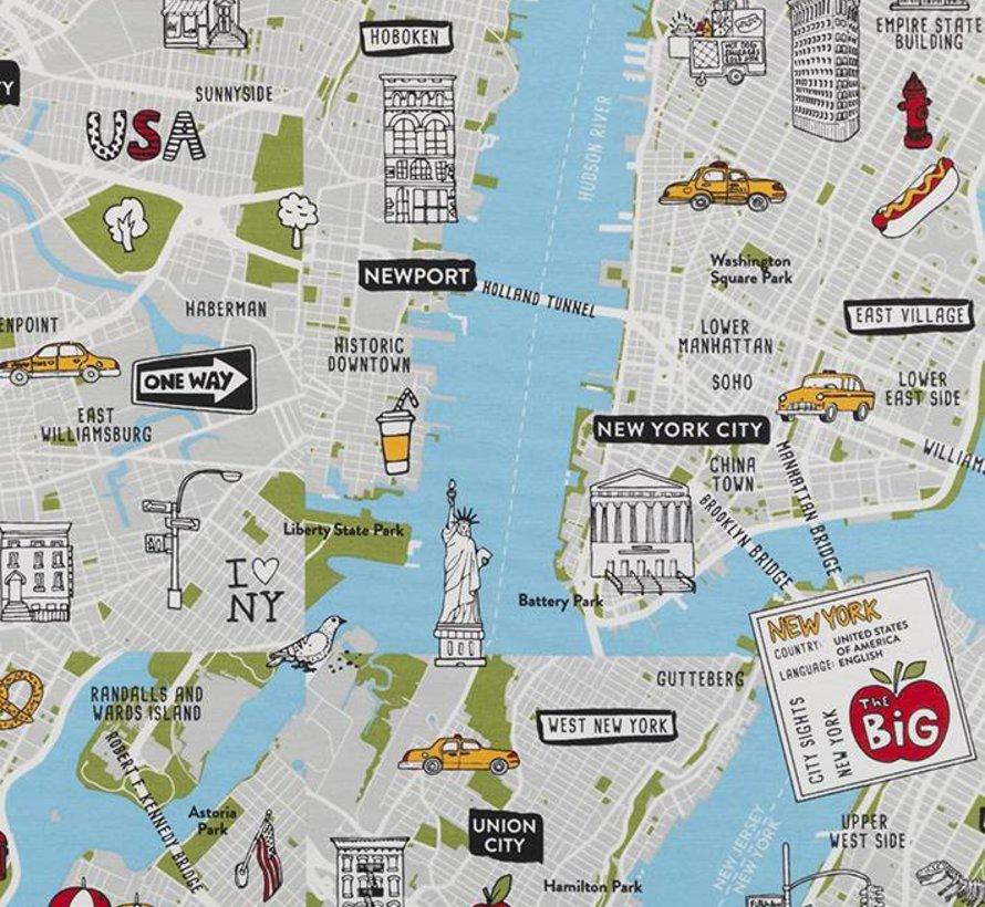 New York plattegrond - ottoman print
